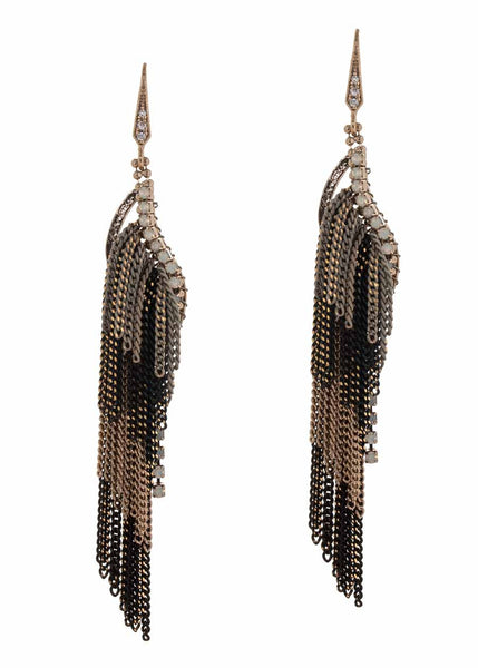 Coated chain multi layered drop earrings, Multi finish, White opal accent