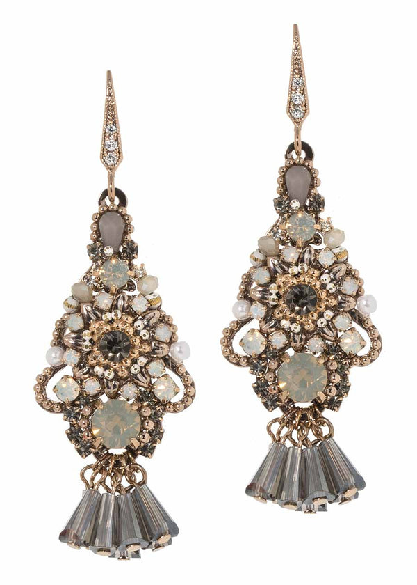 Pillar cut Swarovski crystal accented ornate Moroccan drop earrings, Opal combo, Antique gold finish