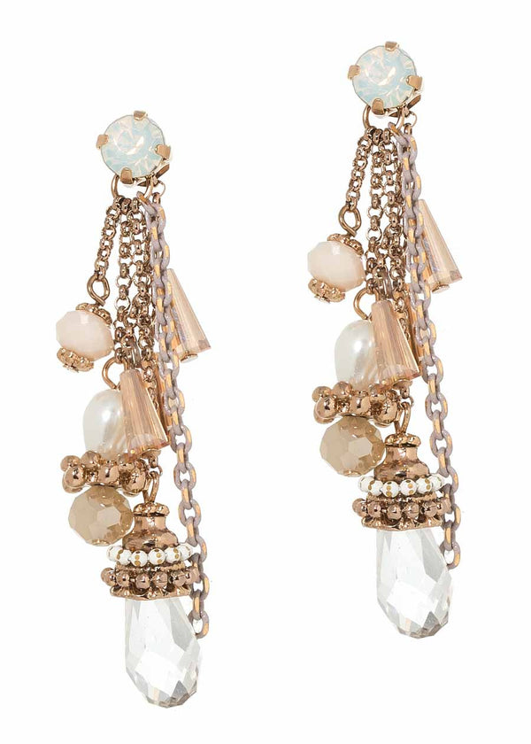 Swarovski crystal rock barrel accented multi drop earrings, Antique gold finish