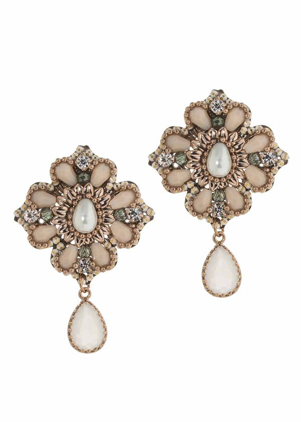 The garden of Versailles earrings with Swarovski crystal, Pearl and CZ, Antique gold finish, Ivory combo