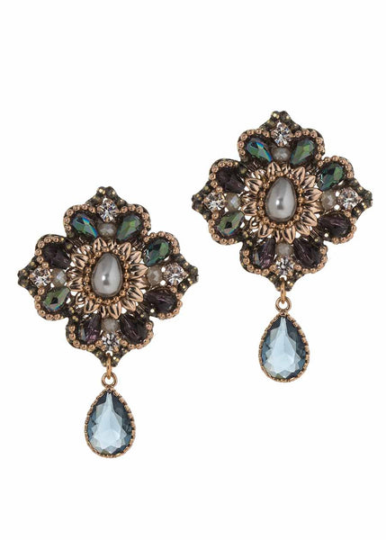 The garden of Versailles earrings with Swarovski crystal, Pearl and CZ, Antique gold finish, Blue combo
