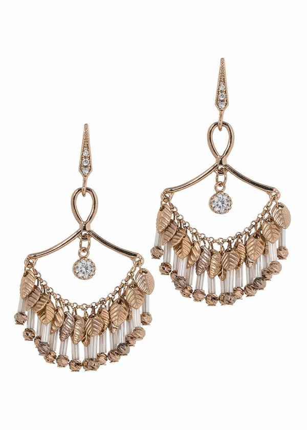 Infinity laurel leaf chandelier earrings with antique set single round CZ drop and round tube cut Swarovski crystal drops, Antique gold finish, Ice combo