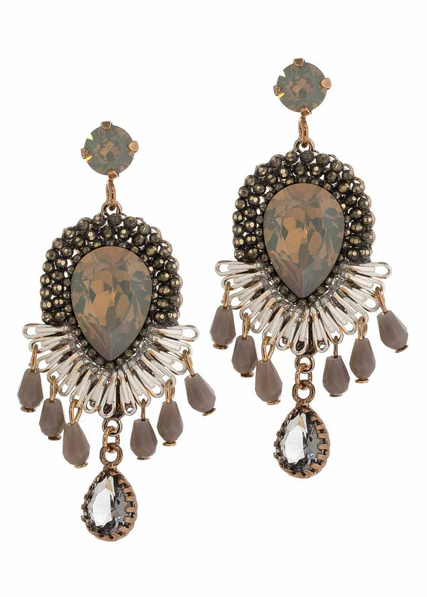 Rock Swarovski stone centered statement chandelier earrings, Multi finish, Grey opal combo