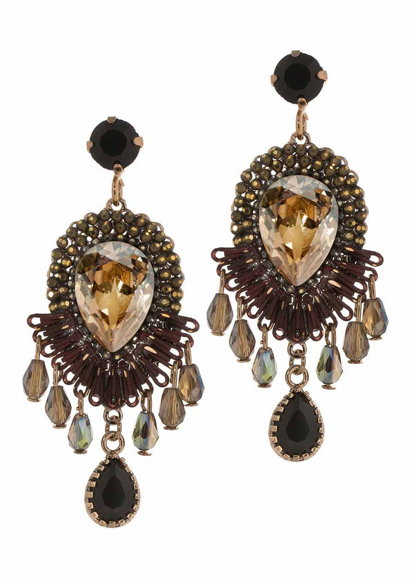 Rock Swarovski stone centered statement chandelier earrings, Multi finish, Topaz combo