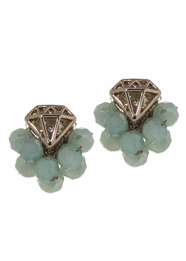 Crown jewel stud earrings with Swarovski crystals, Mint combo, Antique gold finish