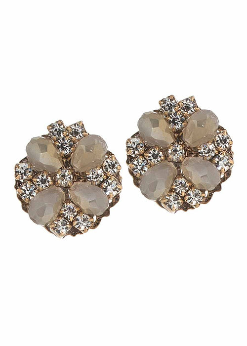 Round stud earrings with Opal Swarovski crystals and CZ, Antique gold finish