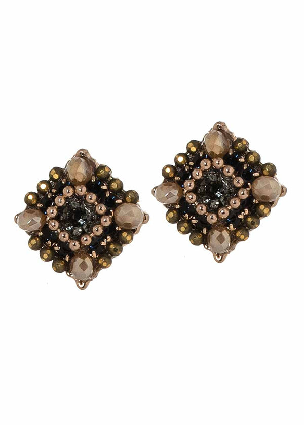 Square stud earrings with CZ, Swarovski crystals, Antique gold finish, Beige combo