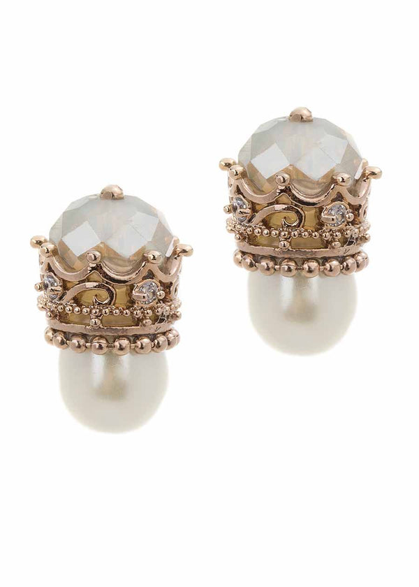 The princess stud earrings with Pearl and Swarovski crystal, Antique gold finish