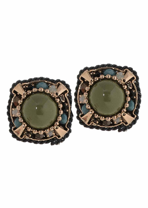 Green agate centered stud earrings with multi Swarovski crystal accents finished with Navy coated chain, Antique gold finish