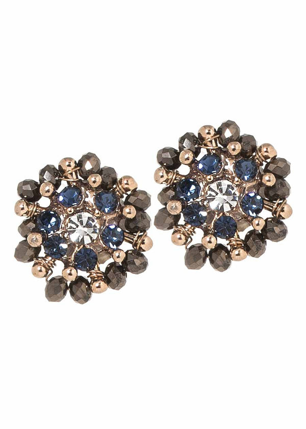 Kate stud earrings with Swarovski crystals and CZ, Antique gold finish, Blue combo