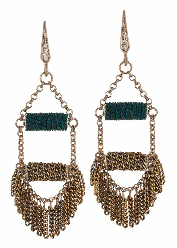 Modified mini tassel earrings with two layers of bar accent, Teal, Multi finish