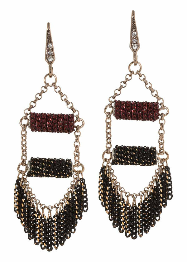 Modified mini tassel earrings with two layers of bar accent, Maroon, Multi finish