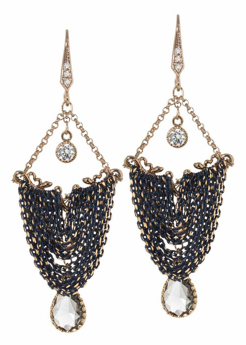 Drape chandelier earrings with coated chain, Swarovski Crystal and high quality CZ, Multi finish, Navy Accent