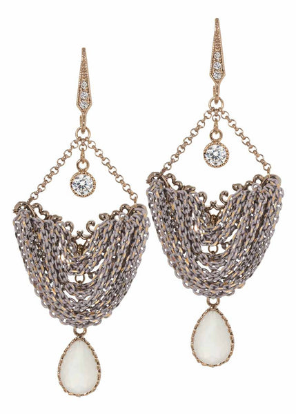 Drape chandelier earrings with coated chain, Swarovski Crystal and high quality CZ, Multi finish, Nude Accent