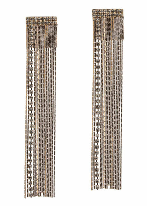 Monsoon waterfall earrings with CZ accent and coated chain, Gray accent,