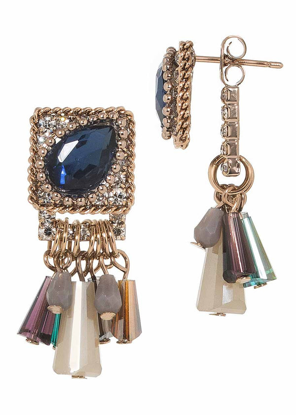 Sophia back to front earrings with Blue Sapphire teardrop Swarovski crystal accented stud and barrel cut drops, Antique gold finish, Can be worn together or separate