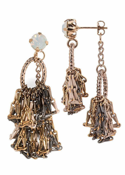Venetian back to front earrings with White opal Swarovski crystal Stud and coated chain, Nude accent