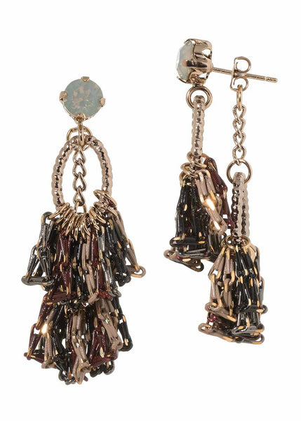 Venetian back to front earrings with Gray opal Swarovski crystal Stud and coated chain, Maroon accent