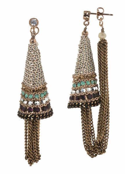 Ornate cone accent soft hoop earrings with Swarovski crystal and coated chain detail, Ivory