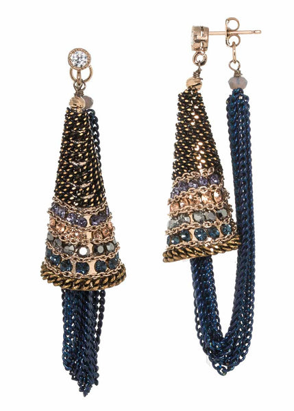 Ornate cone accent soft hoop earrings with Swarovski crystal and coated chain detail, Navy