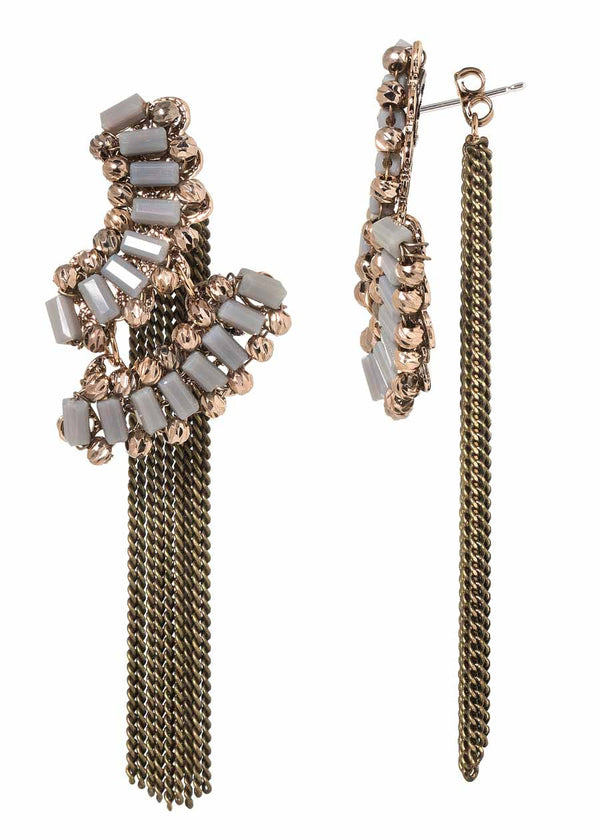 The Venetian festival back to front earrings with Swarovski crystal and tassel accent, Gray Antique Gold Combo