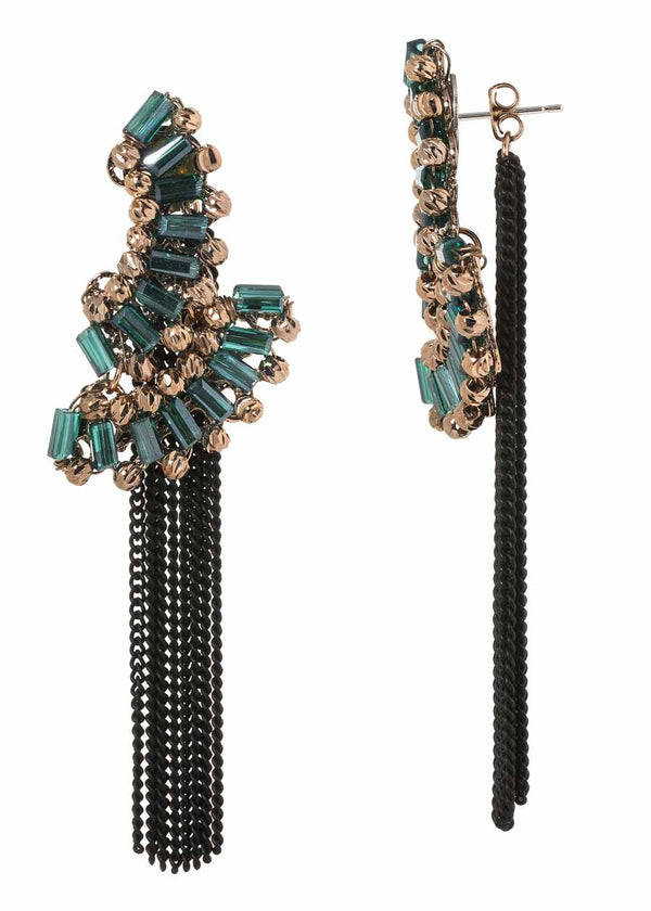 The Venetian festival back to front earrings with Swarovski crystal and tassel accent, Green Black Combo