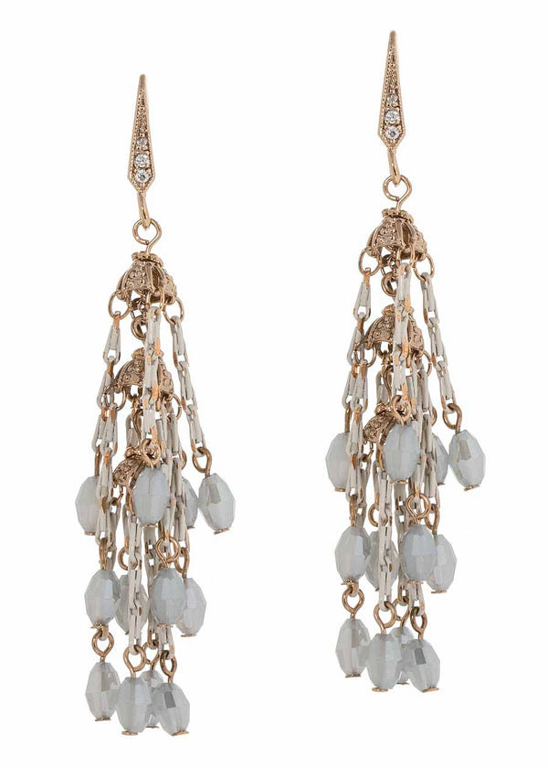 Hyades three tier drop earrings with coated chain and Swarovski crystals, Antique gold finish, light combo