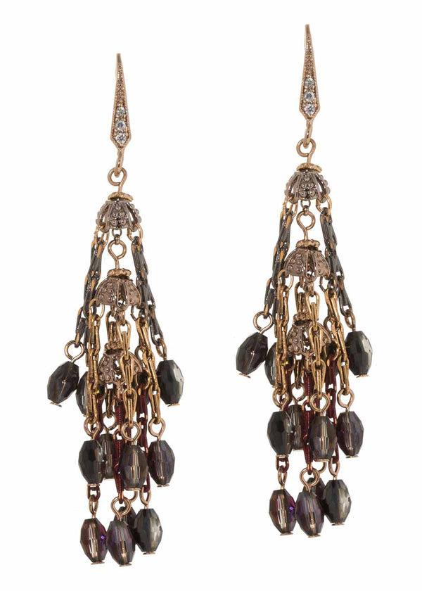 Hyades three tier drop earrings with coated chain and Swarovski crystals, Antique gold finish, dark combo