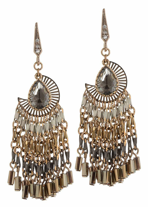 Selene over Aegean Sea drop earrings with barrel cut Swarovski crystals, Antique gold finish, Neutral combo