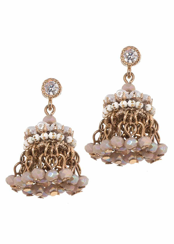 Petite Venetian festival drop earrings, Pearl accent , Antique gold finish