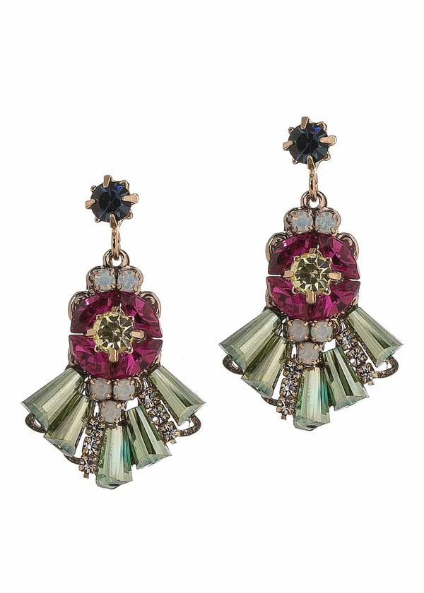 Petite Theia earrings with Swarovski crystals, Antique gold finish, Color combo