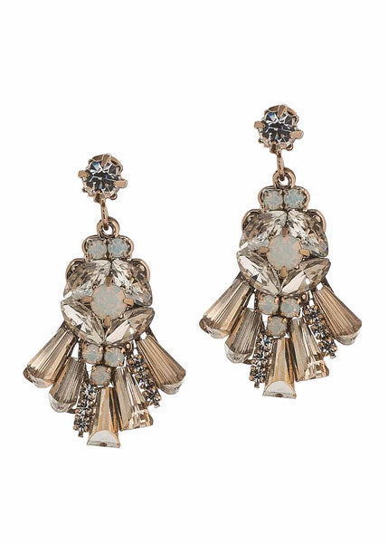 Petite Theia earrings with Swarovski crystals, Antique gold finish, Neutral combo