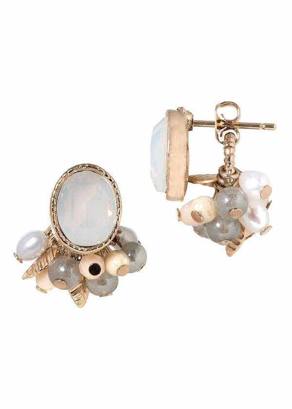 Eave front back earrings with Swarovski crystals, pearls and Agate, Antique gold finish, White Opal combo.  Can be worn together or separate