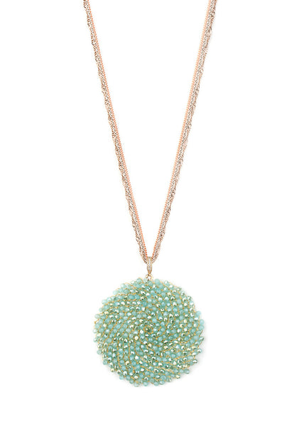 Woven medallion necklace in mint green with multi chain, multi finish