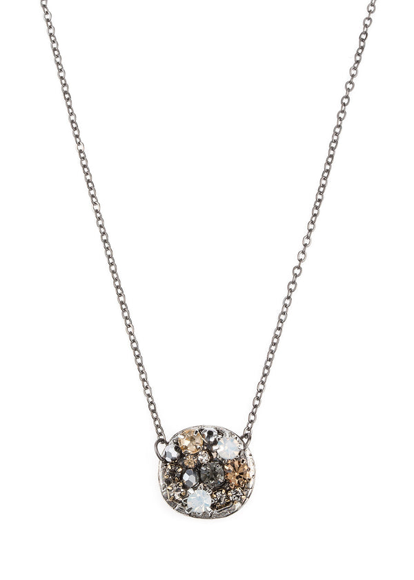 Round disc necklace studded with Swarovski Opal crystals, Topaz Black diamond accent, Gun metal finish