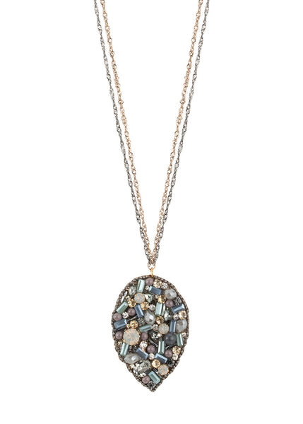 Beautiful combination of Opal Swarovski crystals long pendant necklace, Multi finish