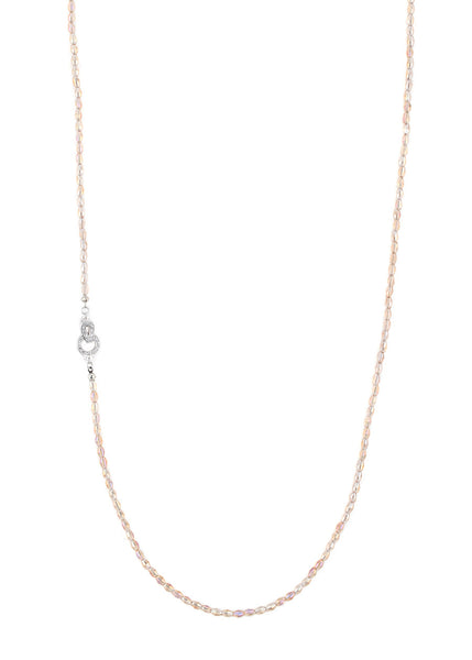 Barrel cut Swarovski Crystal long strand necklace, Champagne, Great for layering