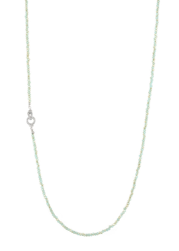Opal Swarovski crystal long strand necklace, Mint, Great for layering