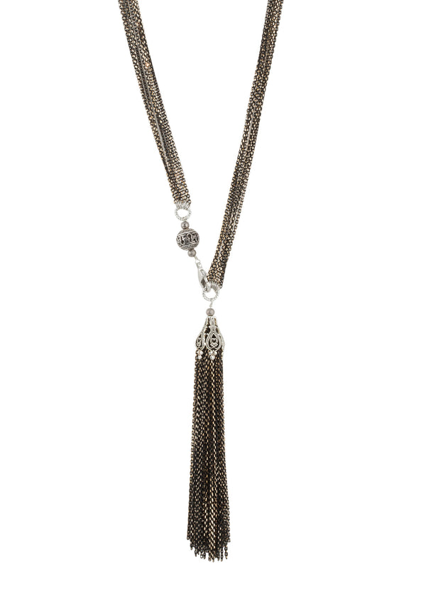 Byzantine art deco long multi chain tassel necklace, Gun metal White gold finish