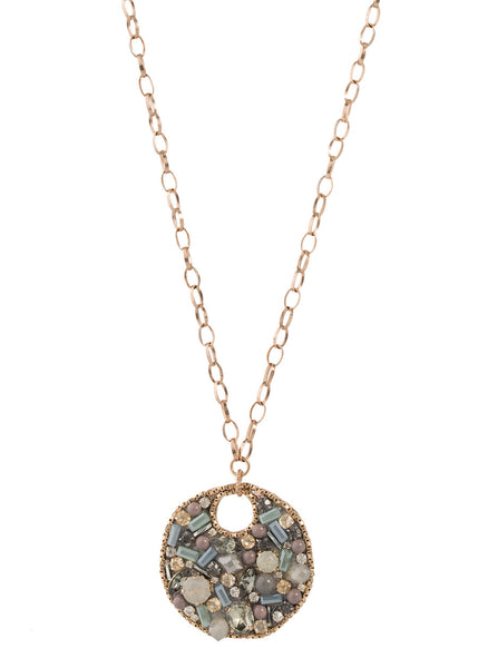 Beautiful combination of Opal Swarovski crystals pendant necklace, Multi finish