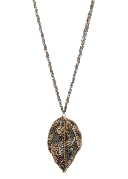 Multi Swarovski crystal and multi color CZ encrusted modified Leaf pendant long necklace
