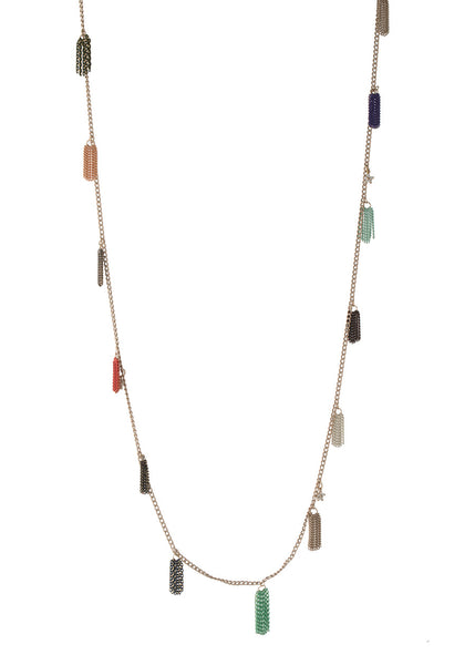 Motified tassel long chain necklace with CZ charm in multi color chains, multi finish