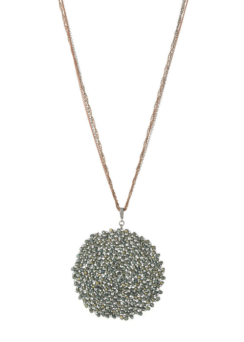 Woven medallion necklace in Green Swarovski crystals  with multi  chain, multi finish