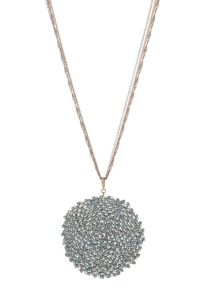 Woven medallion necklace in Pale Blue Swarovski crystals  with multi  chain, multi finish