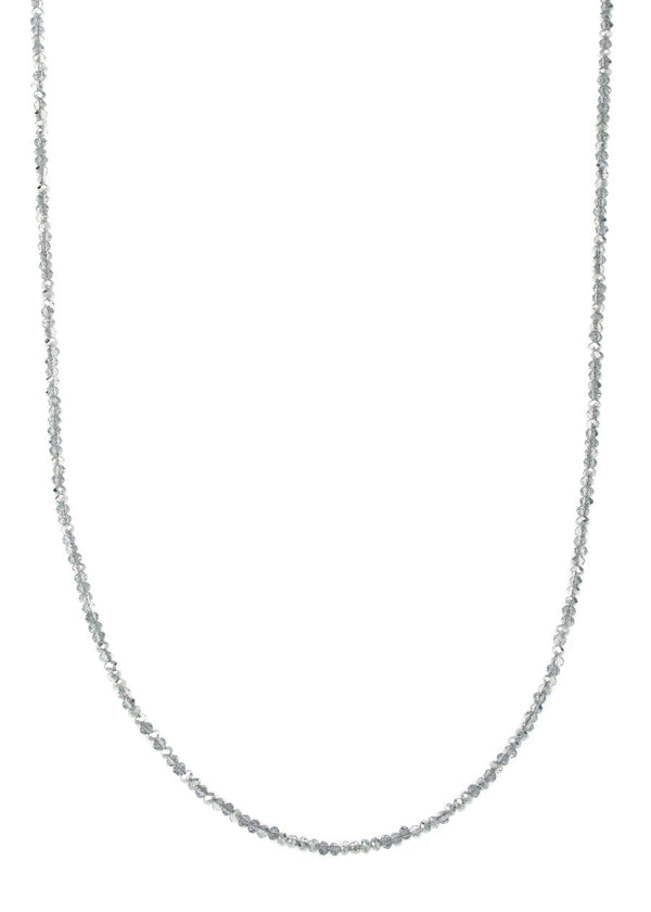 Swarovski crystal long strand necklace, Hematite and black diamond combo, Great for layering
