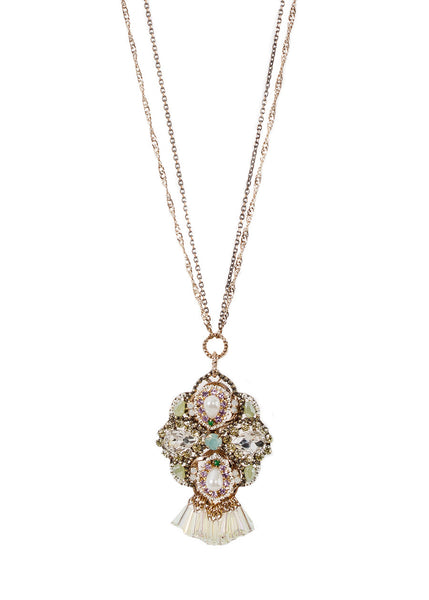 Modified clover long or short necklace studded with pearls and Swarovski crystals with pillar cut finish, Clear combo, Multi finish