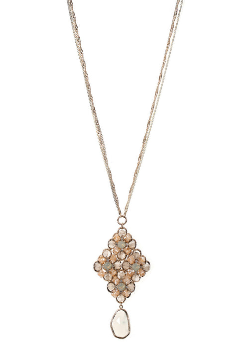 Florentine long pendant necklace studded with Swarovski Crystals and White Agate drop, Multi finish