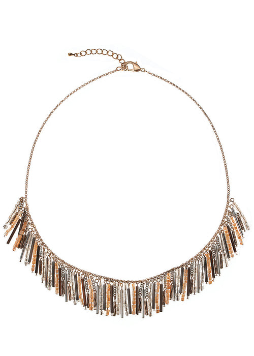 Bar and Swarovski crystal bib necklace, Beige combo, Antique gold finish