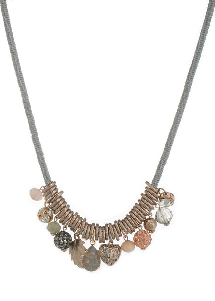 Multiple charm collection Necklace made with Swarovski crystals and semiprecious stone necklace, Antique gold finish