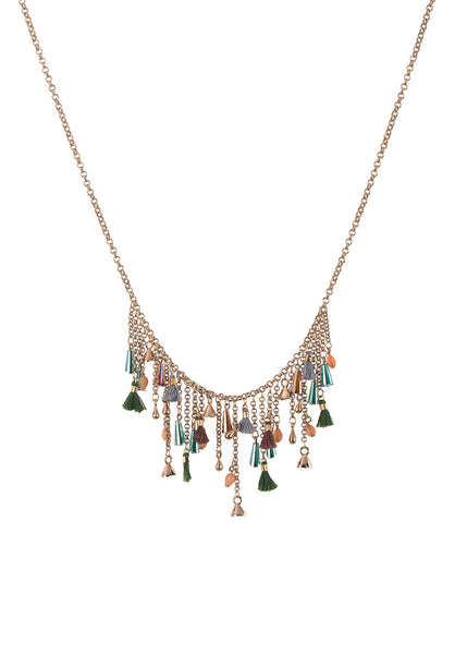 Green Swarovski pillar cut crystals, charms and tassels bib necklace, Antique gold finish